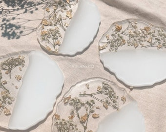 Baby's-Breath Geode Flower Resin Coasters | Geode Flower Coasters | Coasters | White Flower Coaster | Housewarming Gift | Home Decor