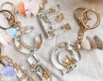 Baby's Breathe Keychain with Tassel | Floral Keychain | Keychain with Tassel | Resin Keychain | Letter Keychain | Customizable Key Chain