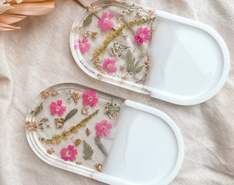 Pink Floral Jewelry Dish | Soap Dish | Floral Rolling Tray | Resin Dish | Bathroom Decor | House Decor | Gifts for her