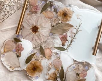 Wedding Floral Preservation | Flower Preservation | Bridal Bouquet Preservation | Resin Floral Tray | Bridal Gift | Wedding Flower Coasters