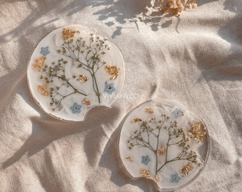 Set of 2 Baby's Breathe & Forget Me Not Milky Car Coasters | Custom Car Coasters | Floral Coasters | Car Accessories | Gift for New Driver