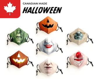Face Mask | Halloween | Adult and Kid's | Reusable, Washable Cotton Mask