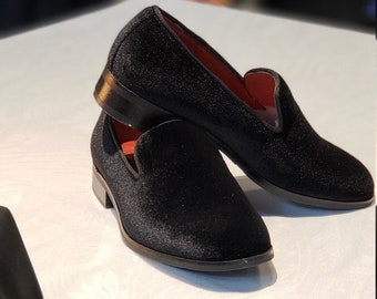 Boy's Velvet Loafer Shoes (Black, Blue, Burgundy) perfect for Weddings, Parties, and other Milestones