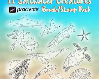 Procreate Sea Creatures Brush/Stamp Set - 11 Sea Creature Brushes for Procreate Only