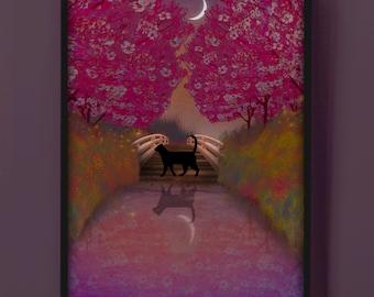 Black Cat Among Japanese Cherry Blossom Trees, Moonlit Hanami Picnic Pond Scenery - Fine Art Print