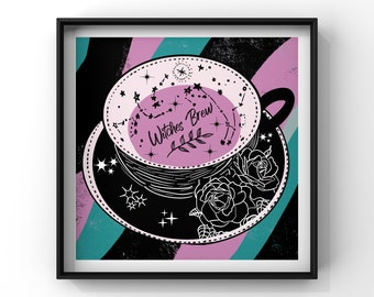 Witches brew teacup print