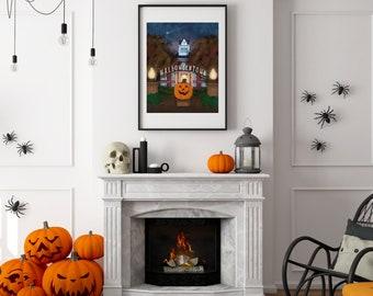 Halloweentown Inspired City Hall Print, Pumpkin Fantasy, Cromwell Poster