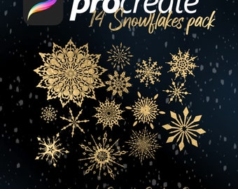 Procreate Brush/Stamp Pack - 14 Unique Snowflakes- Digital Download item - Christmas/Holiday