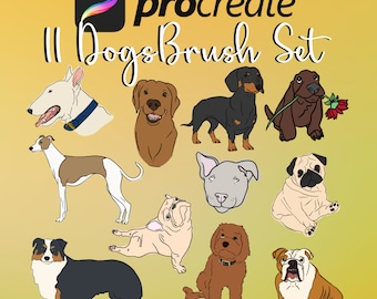Procreate Dog Brush/Stamp Pack - 11 Dogs Included - Digital Download