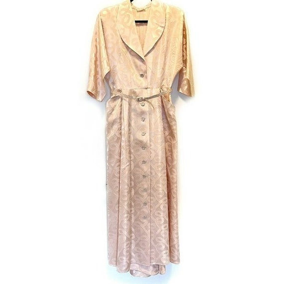 1940s House Dress Coat Robe Pink Jacquard Vintage