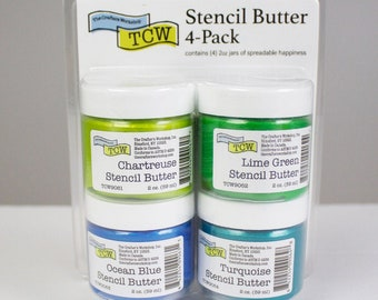 STENCIL BUTTER COLLECTION, 4 pack, Caribbean Sea, The Crafters Workshop , stencil paste, paint