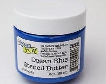 The Crafters Workshop STENCIL BUTTER OCEAN Blue, blue stencil paste, paint, blue