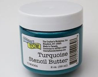 The Crafters Workshop STENCIL BUTTER TURQUOISE,  stencil paste, paint, blue stencil paste, blue