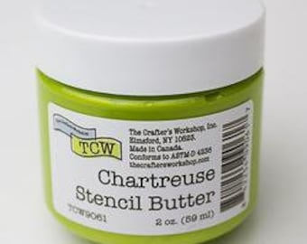 The Crafters Workshop STENCIL BUTTER CHARTREUSE,  stencil paste, paint, green, green paste