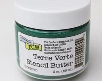 The Crafters Workshop STENCIL BUTTER TERRA Verde,  stencil paste, paint, green paste, green