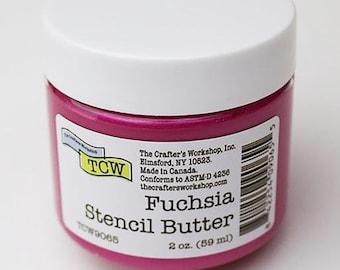 The Crafters Workshop STENCIL BUTTER FUCHSIA,  stencil paste, paint, pink, pink stencil paste