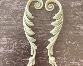 Pair of Shabby Chic Scrolls, Historic Moulding, Silicone Moulding, Embellishment , Furniture Restoration , FREE SHIPPING