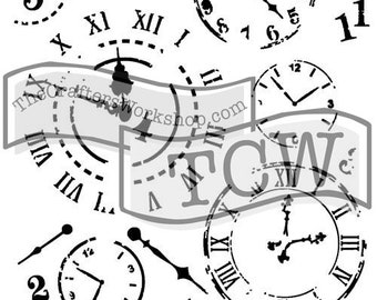 Time Travel Stencil , Sign making stencil , Steampunk, The Crafters Workshop, reusable stencil, shaped stencil , Free Shipping, Made in USA