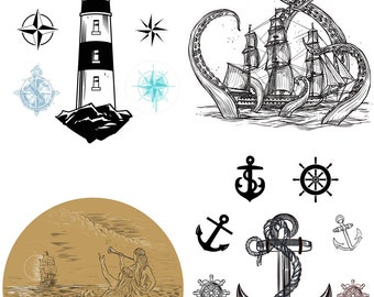 New Dixie Belle Nautical Life transfer, rub on decal , furniture transfer, Belles & Whistles Shipping Late March