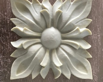 EFEX Large Sunflower Rosette, Moulding, Historic Moulding, Silicone Moulding, Embellishment , Furniture Restoration , FREE SHIPPING