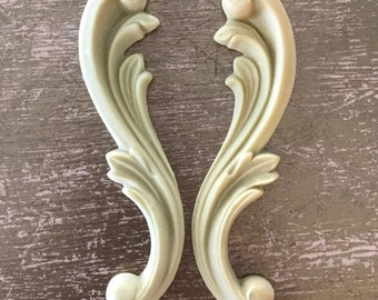 Pair of Small Shabby Chic Scroll , Historic Moulding, Silicone Moulding, Embellishment , Furniture Restoration , FREE SHIPPING