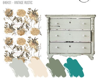 Vintage Rustic Transfer,  Prima Redesign Transfer with Free  Fast Shipping