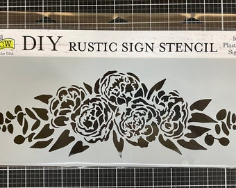 Peony Spray Stencil , Sign making stencil , The Crafters Workshop, reusable stencil,  long stencil ,  16.5 inch x 6 inch, Made in USA