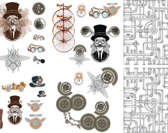 New Dixie Belle STEAMPUNK Transfer, rub on decal , furniture transfer, Belles & Whistles Shipping Late March