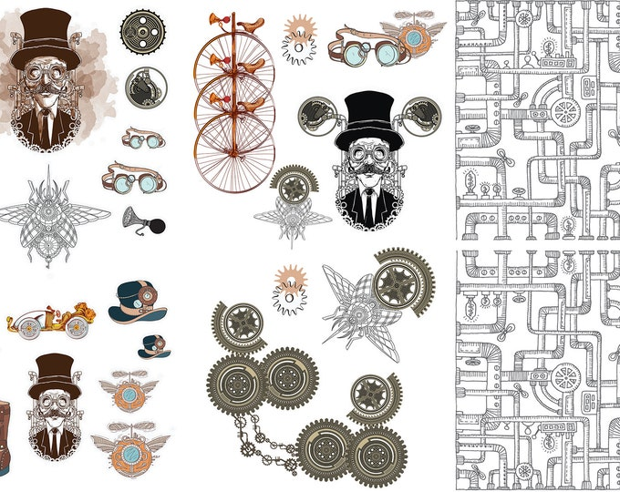 Featured listing image: Dixie Belle STEAMPUNK Transfer, rub on decal , furniture transfer, Belles & Whistles
