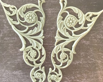 Pair of Large Neo Classical Scrolls, Historic Moulding, Silicone Moulding, Embellishment , Furniture Restoration , FREE SHIPPING