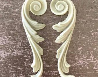 Pair of Decorative Scrolls, Historic Moulding, Silicone Moulding, Embellishment , Furniture Restoration , FREE SHIPPING
