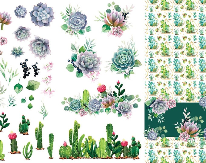 Featured listing image: New Dixie Belle CACTUS Transfer, rub on decal , furniture transfer, Belles & Whistles