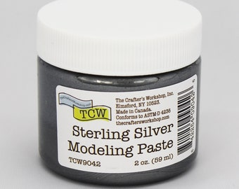 Stencil Paint, The Crafters Workshop Sterling Silver Modeling Paste, Metallic Paste, Metallic Paint