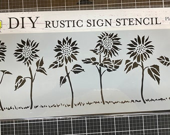 Sunflower Row Stencil , Sign making stencil , The Crafters Workshop, reusable stencil,  long stencil ,  16.5 inch x 6 inch, Made in USA