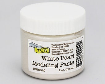 Stencil Paint, The Crafters Workshop White Pearl  Modeling Paste, Metallic Paste, Metallic Paint