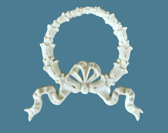 EFEX Wreath Bow with French Ribbons, Moulding, Historic Moulding, Silicone Moulding, Embellishment , Furniture Restoration , FREE SHIPPING