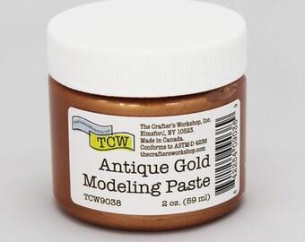 Stencil Paint, The Crafters Workshop Antique Gold Modeling Paste, Metallic Paste, Metallic Paint