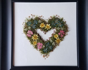 Pressed Flowers and Moss Wreath:  One of a kind wall art using home-grown flowers and moss from my Indianapolis garden.