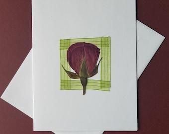 Card:  Rose bud note card