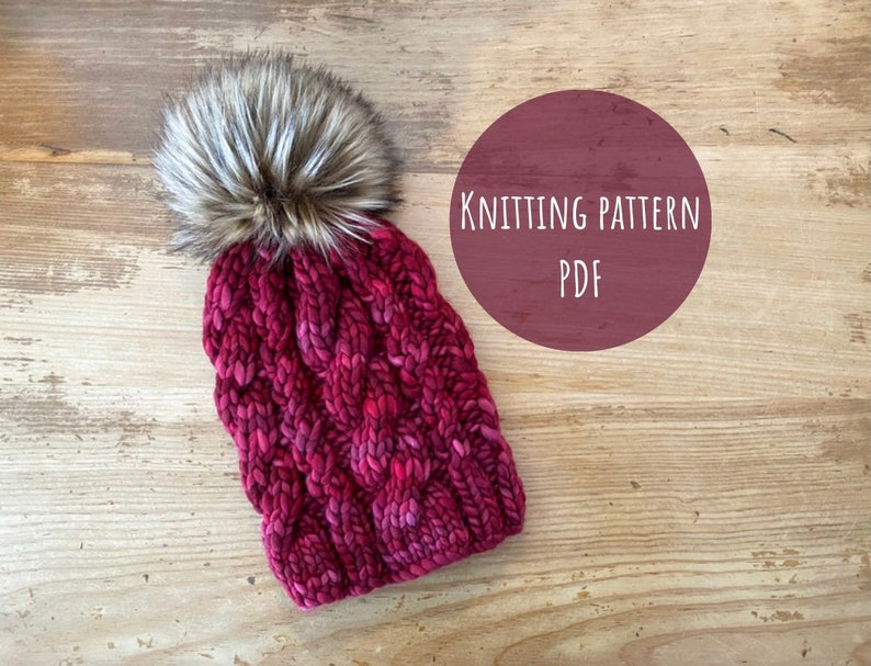 KNITTING PATTERN: The Dunes Beanie  Cable knit beanie pattern image 0