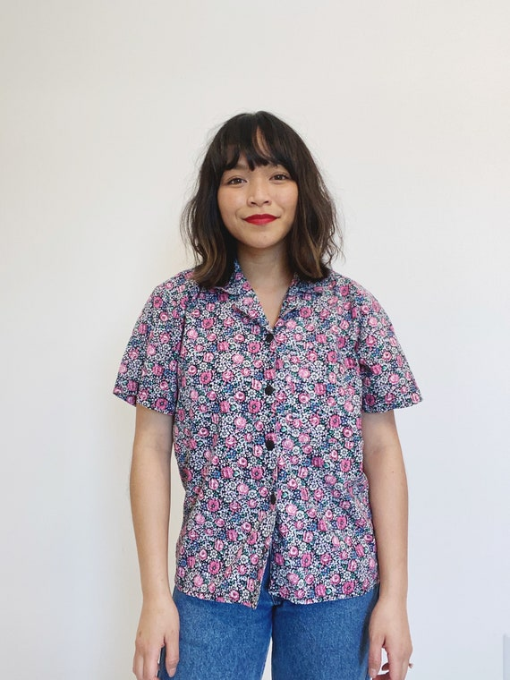 Vintage Ditsy Floral Button Up Top | Vintage Colla