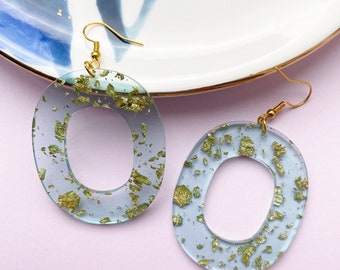 Ice Blue and Gold Leaf Earrings, Transparent Resin Winter Statement Dangle Earrings