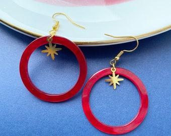 Falling Star Hoop Earrings, Red and Gold Resin Festive Earrings
