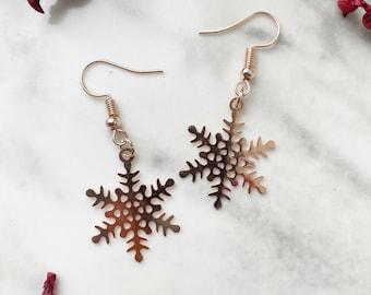 Rose Gold Snowflake Earrings, Festive Dangle Earrings