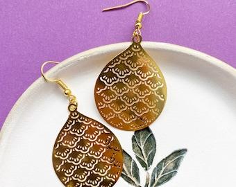 Art Deco Pendant Earrings, 'Metuka' Party Fan Earrings