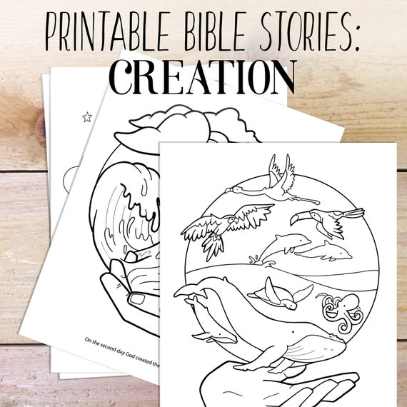 Bible Study Creation Story Kids Coloring Bible Printable Etsy
