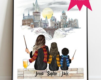 Personalised Harry Potter style wizard Print,  Custom made A4 Size Print, Friends, Best Friend, BFF,  Sister, Family, Unique Gift