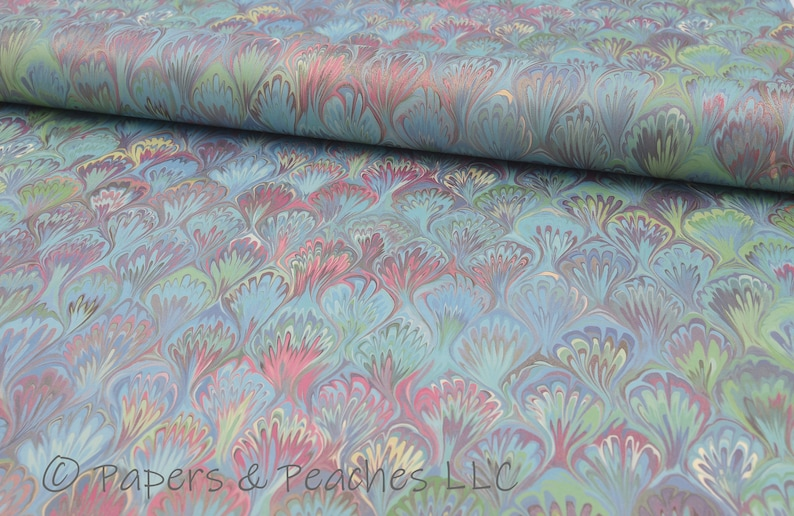 Decorative Gift Wrap Single Sheet Printed Paper Italian Quality #4030 | Peacock Marble