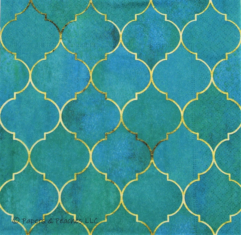 Crafting Tissue 2 Decoupage Napkins Palace Tile Green