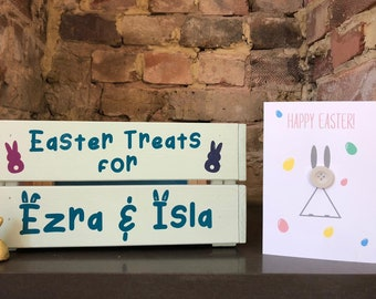 Easter Chocolate Treat Box Card Combo Crate Personalised Custom Bunny Hand Crafted Gift